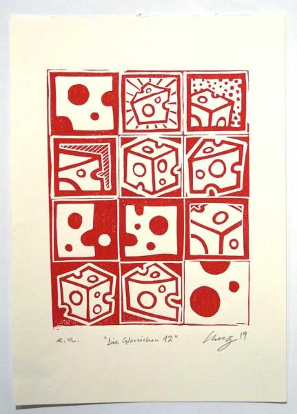 "Cheez : ""Viele Käse - Rot""  - 21 x 29,5 cm - linoleum print on paper, at SALZIG Berlin"