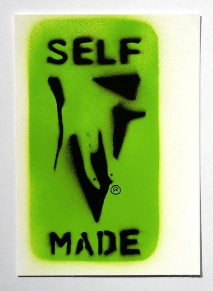"Ostap: ""Selfmade - Green""  - Handmade Stencil - Paper Postcard - SALZIG Berlin"