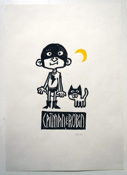 "Stefan Hoch: ""Catman & Robin"" - 10/15 - 2 color linoprint on paper - streetart berlin - salzig berlin"