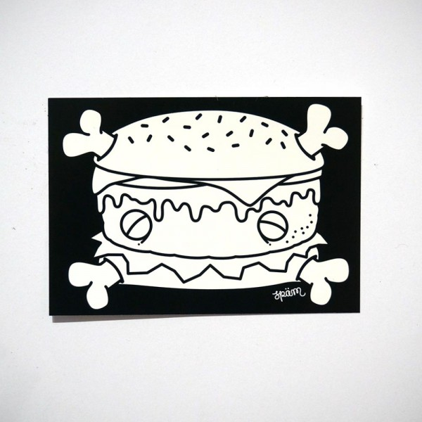 "Späm: ""Burger - Black and White"" Sticker - ca. 10,5 x 7 cm"