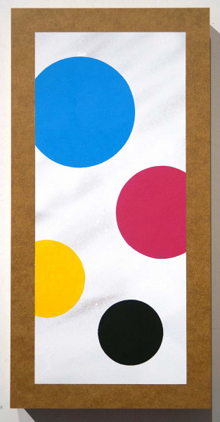 "CMYK Dots: ""Dots on wood"" - original on wood - salzigberlin - street art"