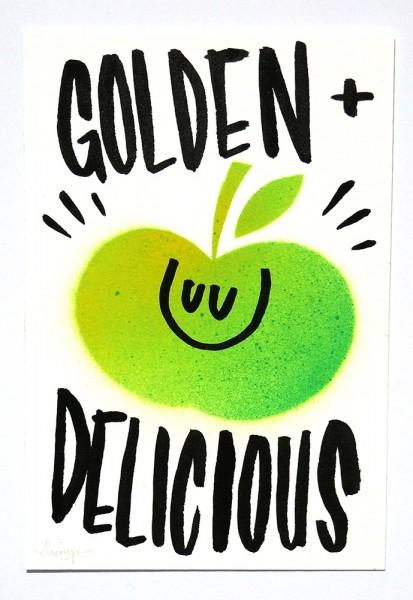 "Dave the Chimp: ""Golden Delicious"" - Original Postcard"