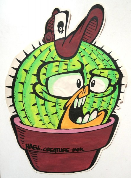 "Haevi Styles: ""Kaktus - Paste-up"" - SALZIG Berlin, Streetart Galerie in Friedrichshaina"
