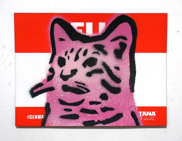 "Lembo: ""Pink Cat - Montana Sticker""  - Stencil on a sticker from Montana Cans"