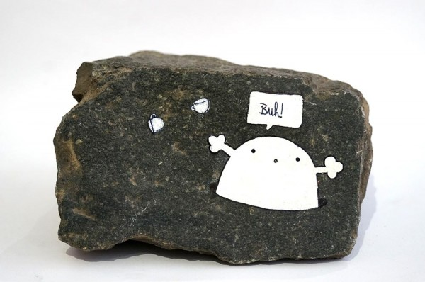 "Rabea Senftenberg: ""Buh""  - Marker and fun on Stone, a piece of Berlin - Stamped and signed by the artist, 2012"