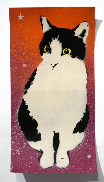 """Lembo: """"Cat 3 - DHL Sticker"""" - Stencil on a sticker from DHL"""