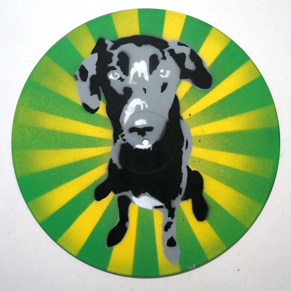 "Lembo: ""Dog on Vinyl""  - Stencil on a Record -  SALZIG Berlin"