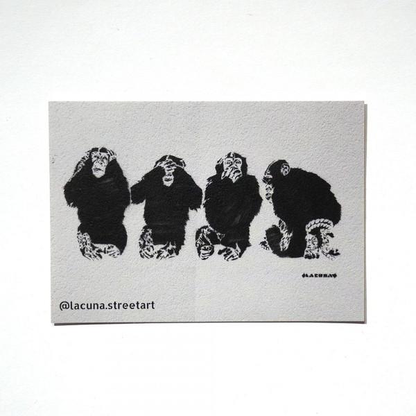 "Lacuna: ""Four Monkeys"" - Sticker at SALZIG Berlin"