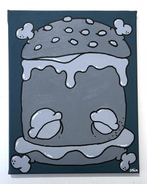 "Späm: ""Burger""  - mixed media on Canvas"