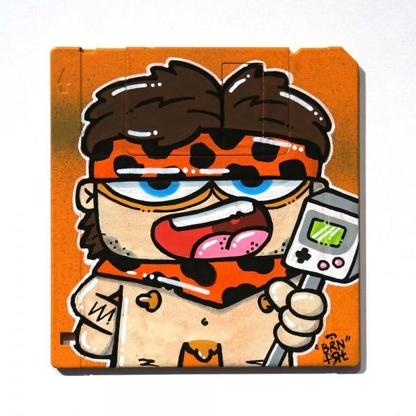 "Brainfart: ""Floppyfart Gameboy""  - mixed media on diskette - SALZIG Berlin"