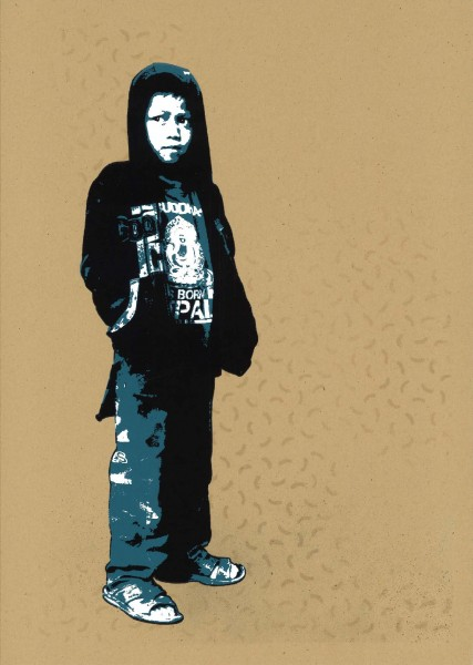 "Tona: ""Hoody"" Technique: handpulled 3 colour silkscreen print on spraypainted background"