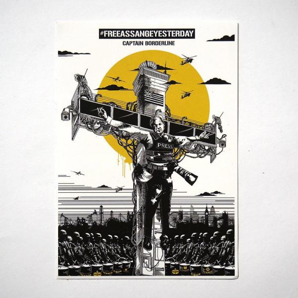 Captain Borderline: Collateral Crucifixion - Julian Assange - SALZIG BERLIN - Sticker