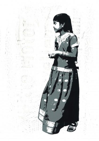 "Tona: ""Floret"" Technique: handpulled 3 colour silkscreen print on handmade frottage"