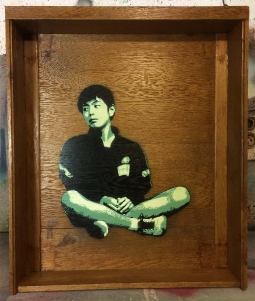 "Tona: ""INAWASHIRO"" - Material: Sprühlack auf alter Holzschublade -SALZIG Berlin - Streetart Gallery"