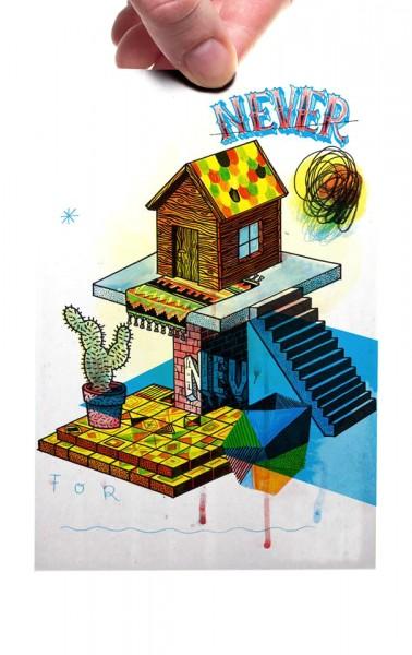 """Yackfou: """"Holzhütte"""" - Postkarte A6"""