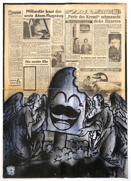 "Señor Schnu: ""2044""  - Original Paper Paste-Up - on newspaper 1950s"