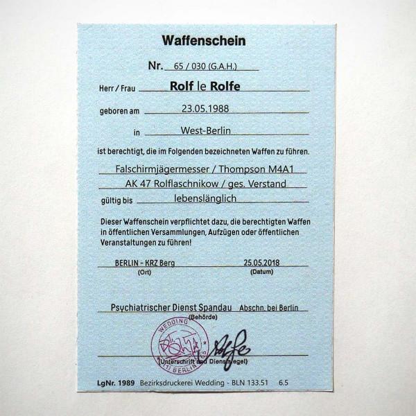 """ROLF LE ROLFE: """"Waffenschein"""" - Sticker - Aufkleber aus Berlin - Streetart Galerie SALZIG"""