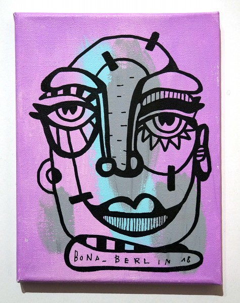 Bona Berlin: Face - Purple - mixed media on canvas