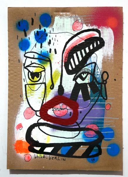 Bona Berlin: Head IV - mixed media on cardboard