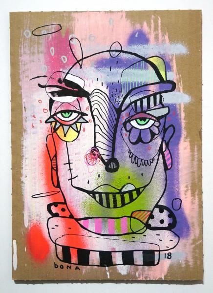 Bona Berlin: Head II - mixed media on cardboard