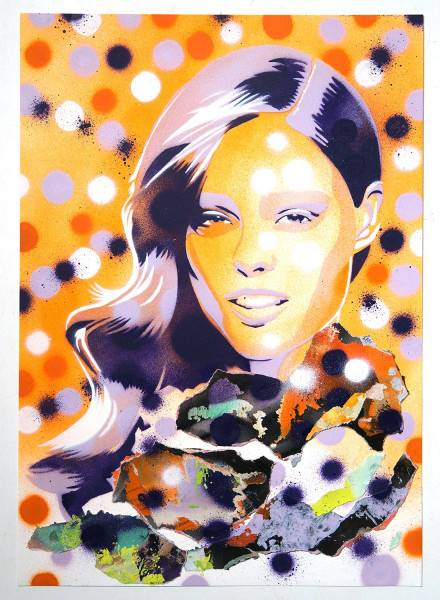 """Mariestyle: """"Flowery Cover Coco"""" - spraypaint stencil on paper - SALZIGBerlin"""