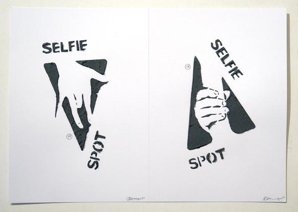 """Ostap: """"Selfie Spot - 2 in 1 - 3D"""" - Handmade 3D Stencil - SALZIG Berlin"""