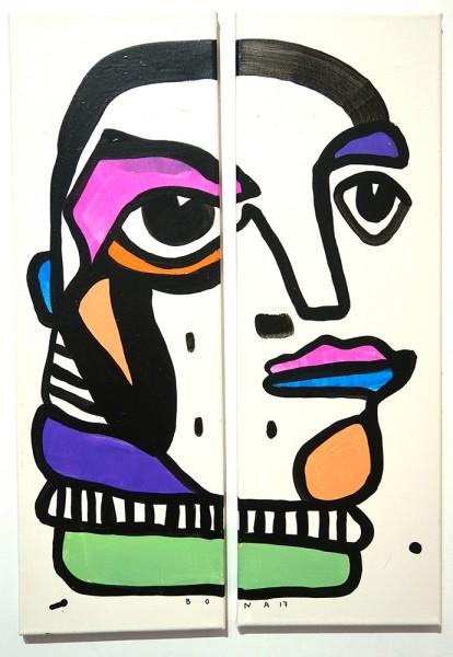 "Bona Berlin: ""Double Face II""  - signed, 2017"