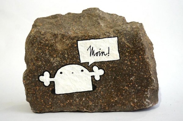 """Rabea Senftenberg: """"Moin""""  - Marker and fun on Stone, a piece of Berlin - Stamped and signed by the artist, 2012"""