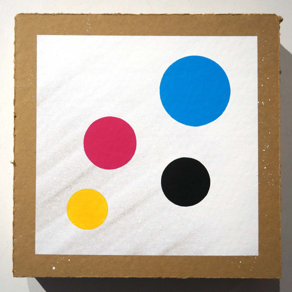CMYK Dots: Dots on cardboard 001 - Streetart at SALZIG Berlin Friedrichshain