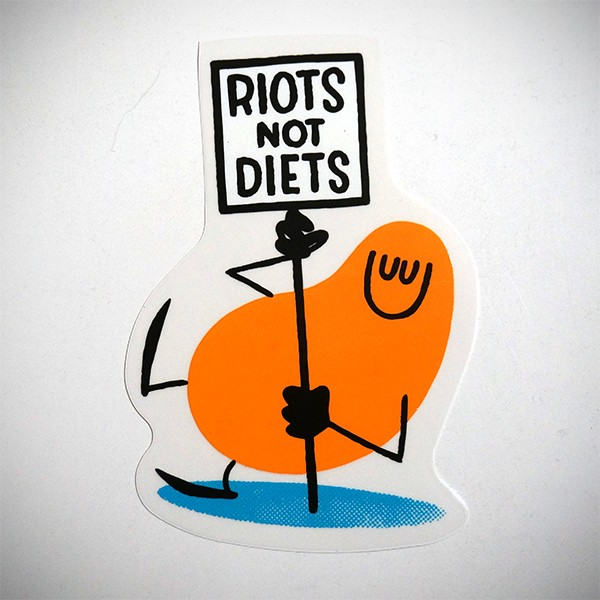 "Dave the Chimp: ""Riots not Diets"" - Sticker"