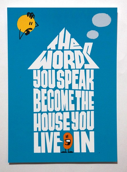 "Dave the Chimp: ""The Words You Speak Become The House You Live In""  - Postcard"