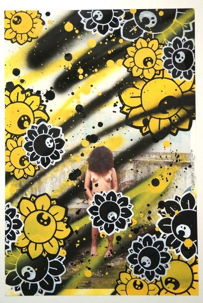 "Bujangan Urban: ""Flowergirl - YB"" - signed, 2018 - mixed media on paper - 48,5 x 37,5 cm"
