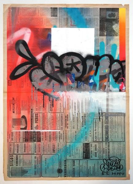 "Señor Schnu: ""Untitled Abstract Newspaper 2"" - Streetart gallery berlin Friedrichshain"