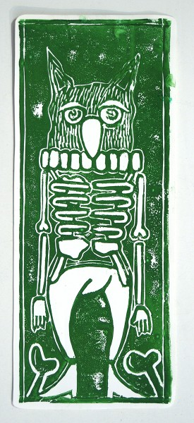 "Deelorean: ""Eulenskelettfreunde"" - Handmade Sticker, 2018"