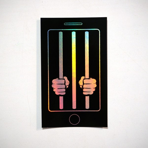 "Unplugged: ""Cell Phone"" - Sticker  - Rainbow Metallic Glossy Effect"