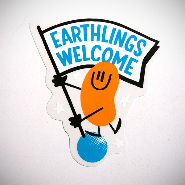 "Dave the Chimp: ""Earthlings Welcome"" Sticker"
