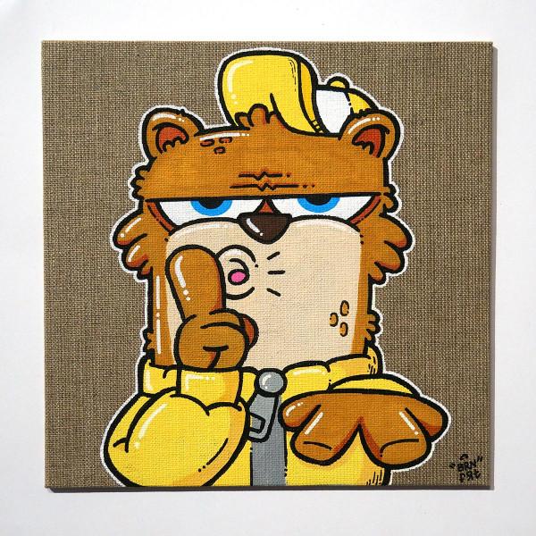 "Brainfart: ""Pssst"" - mixed media on canvas cardboard - SALZIGBerlin"
