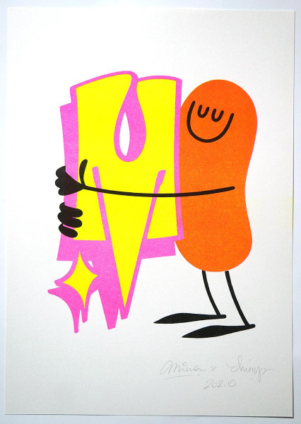 "Dave the Chimp & Mina: ""The M is Mine"" - 4 colour risograph print - SALZIG berlin"