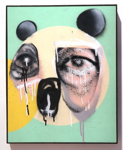 "So4Melone: ""Pink Panda"" - signed on the backside, May 2020 - 51 cm x 41 cm x 4,5 cm - salzigberlin"
