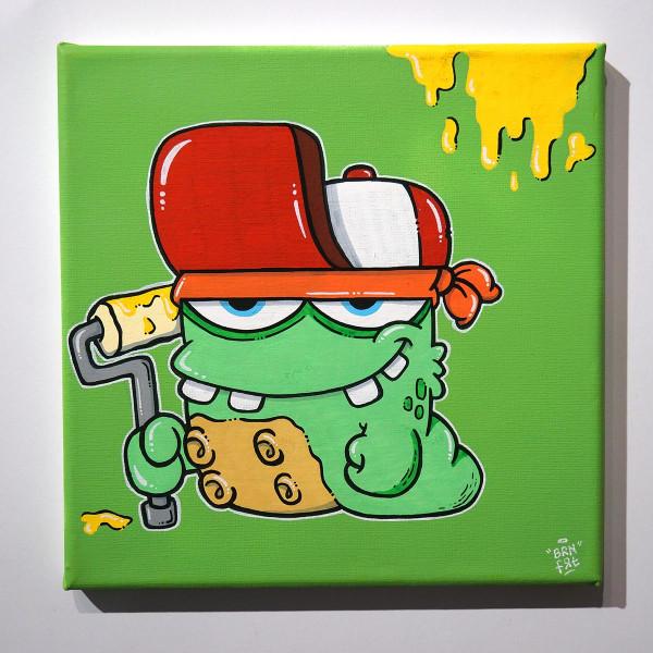 "Brainfart: ""Greenie"" - mixed media on canvas - SALZIGBerlin"