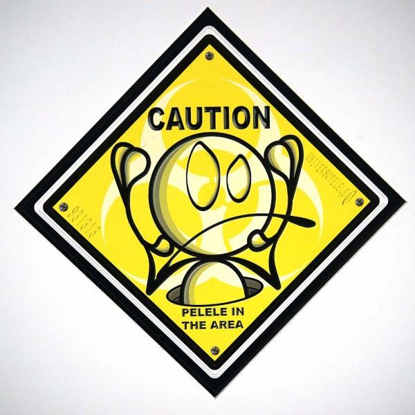 """El Pelele: """"Caution """" - Sticker - 15 x 15 cms - at salzigberlin"""