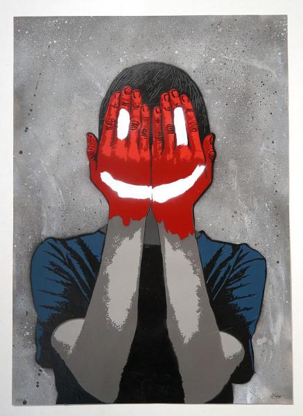 "Alias030: ""Fake Smile (Grey)"" - SALZIGBerlin - StreetartGallery"