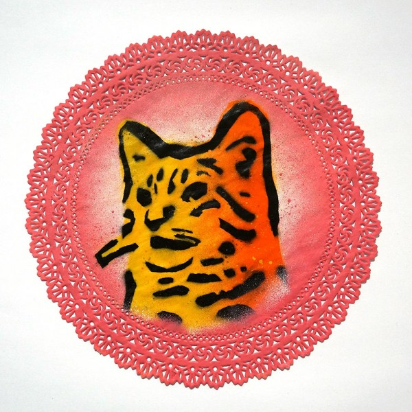 """Lembo: """"Cat on table mat""""  - Stencil on paper table mat"""