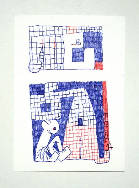 "Tefra90: ""Drawing 2"" Original Postcard - Red Blue Series"