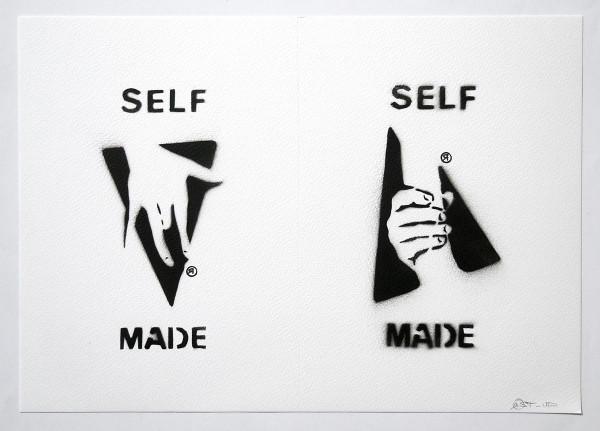 "Ostap: ""Selfmade -2 in 1 - White"" - Handmade Stencil - SALZIGBerlin"