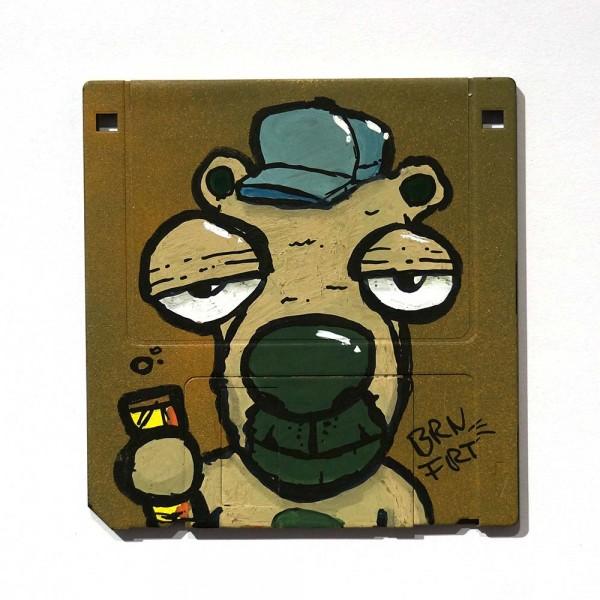 "Brainfart: ""Floppyfart Dude""  - mixed media on diskette - SALZIG Berlin"