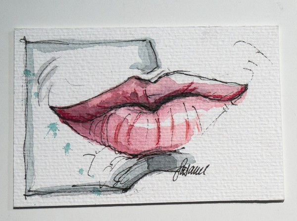 "Susanne Wilke: ""Kiss the world, it needs it!"" - Dustin - Aquarell"
