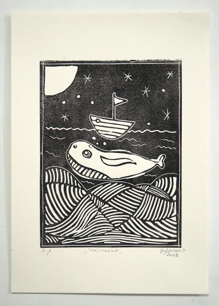 "Deelorean: ""Walnacht"" - Linoleum Print, 2018"
