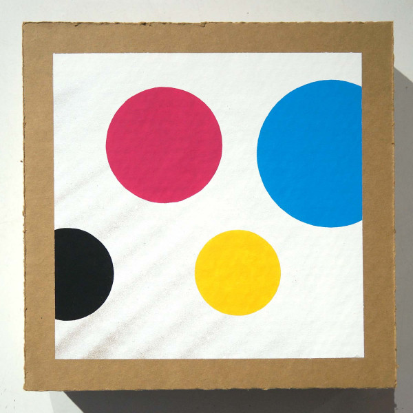 CMYK Dots: Dots on cardboard 002 - Streetart at SALZIG Berlin Friedrichshain