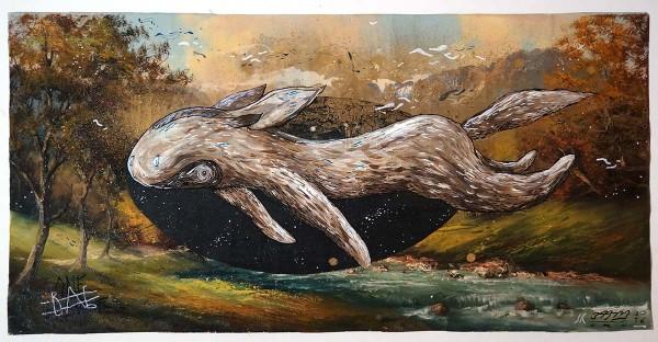 "Sam Crew aka John Reaktor: ""River""  - original on unframed canvas"